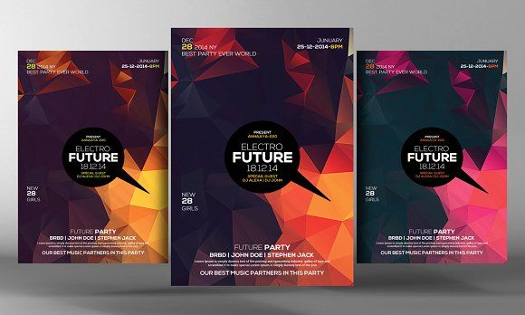 Electro House Futuristic Party Flyer by Business Templates on @creativemarket