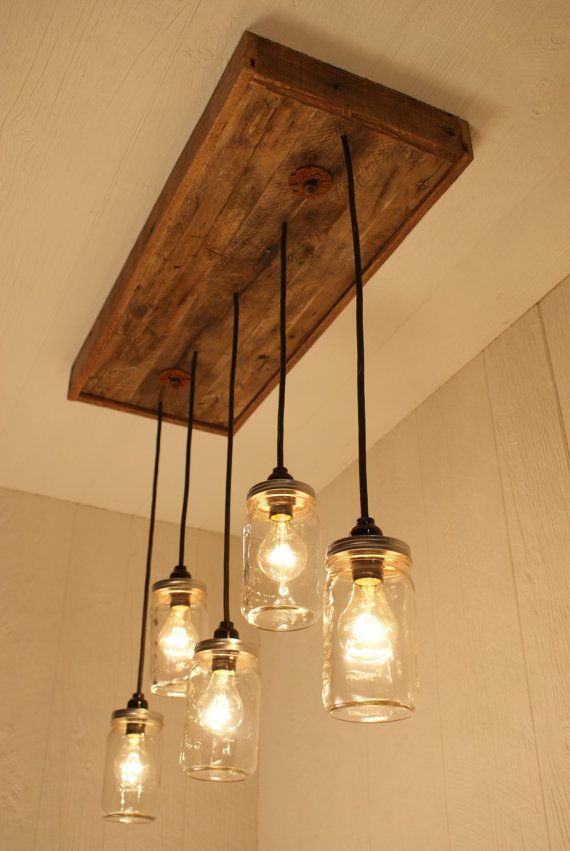 mason jar chandelier with reclaimed wood and 5 pendants r. Black Bedroom Furniture Sets. Home Design Ideas