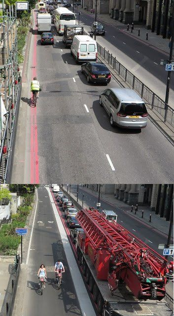 London's new East - West Cycle Superhighway, before and after. Credit: Hackney Cyclist. Click image to tweet, and visit the Slow Ottawa boards >> https://www.pinterest.com/slowottawa/