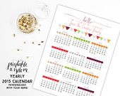 Printable Yearly Calendar 2015 planner print personalized wall desk calendars agenda, month year, custom, digital DIY PDF Printable Wisdom