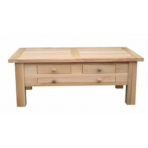 Lacar Solid Oak Three Drawer Oblong Coffee Table  www.easyfurn.co.uk