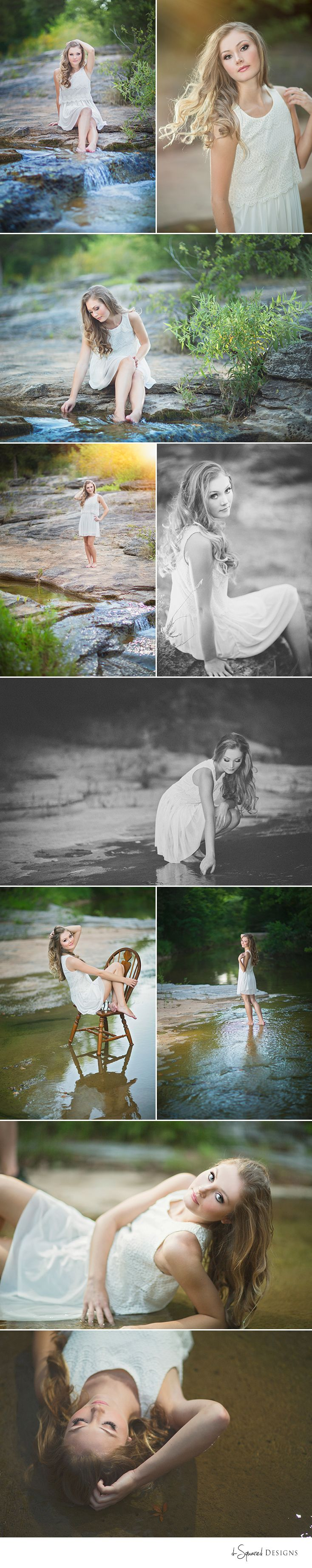 Senior girl photography by d-Squared Designs. St. Louis, MO Senior photographer. Missouri senior photographer. River and creek with water senior session. Water ideas. Beautiful senior girl. Senior session. Senior inspiration. Click on image for full session!