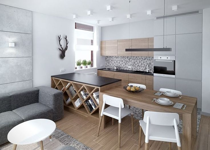 Kuchnia, stol, szara, drewno, biel