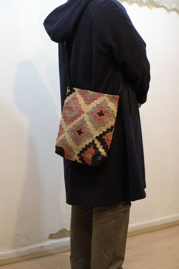 UNİSEX Shoulder Bag kilim bag100%wool & leatherShoulder by kilimci