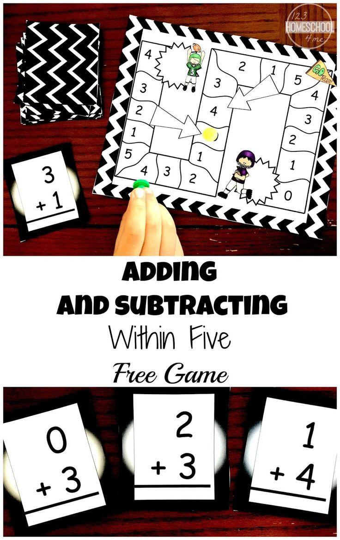 Printable Math Game Adding Within 5 And Subtraction Within 5 Kindergarten Math Games Printable Math Games Kindergarten Math Adding numbers games for kindergarten