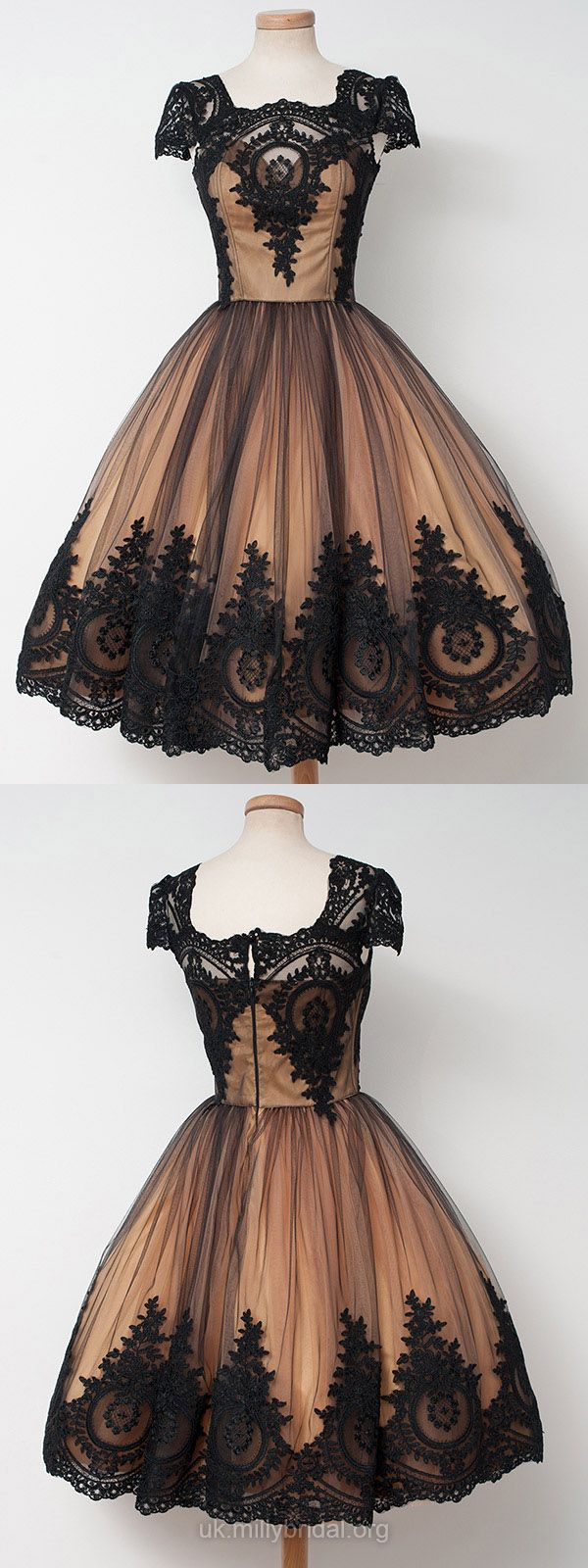 Vintage Prom Dresses Short, Lace Prom Dresses Ball Gown 2018, Square Neckline Cocktail Dresses Tulle, Tea-length Homecoming Party Dresses Modest