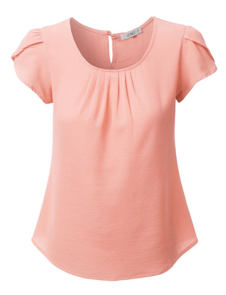 LE3NO Womens Chiffon Pleated Cap Sleeve Blouse Top. love the tulip sleeves