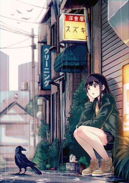 Anime picture 				1000x1414 with  		original 		40hara 		long hair 		single 		tall image 		black hair 		brown eyes 		sitting 		ahoge 		city 		rain 		girl 		skirt 		miniskirt 		animal 		water 		jacket 		shoes 		bird (birds) 		building (buildings)