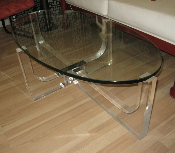 $1100 Vintage Table Ft. Lauderdale OVAL GLASS LUCITE COFFEE TABLE