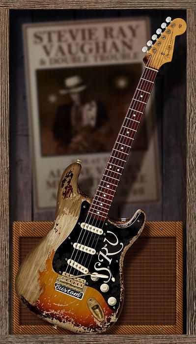 Memories of Stevie. A digital illustration of Stevie Ray Vaughan's prized 1963 Fender Stratocaster guitar. Digital art by WB Johnston, available as prints in a large variety of sizes.