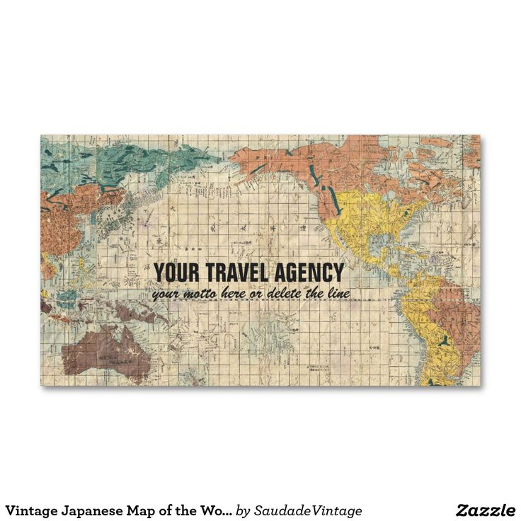 Vintage Japanese Map of the World Double-Sided Standard Business Cards (Pack Of 100)