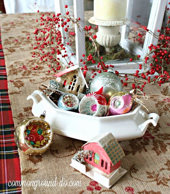 Christmas ornaments in soup tureen