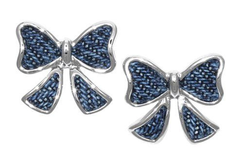 Sterling Silver Blue Denim Bow Post Back Earrings Amazon Curated Collection. $64.78. Made in China