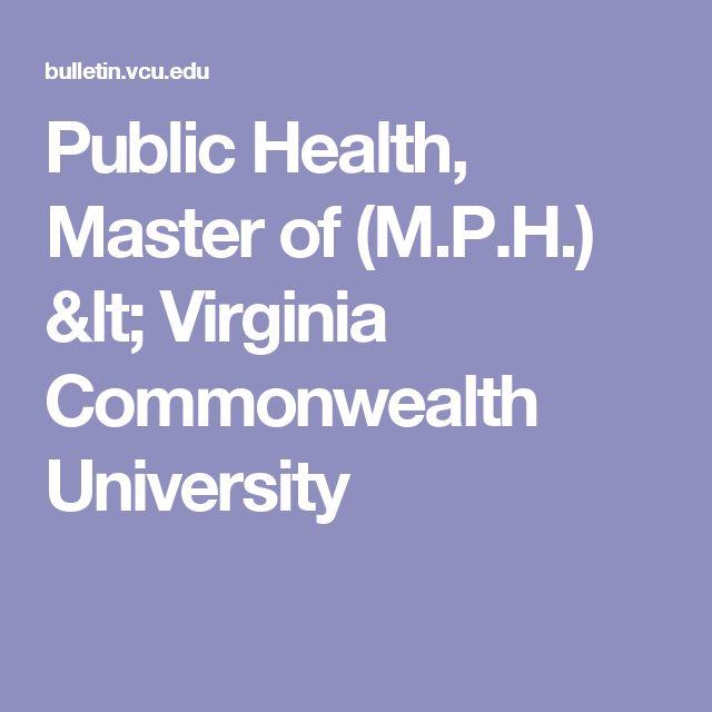 Public Health, Master of (M.P.H.) < Virginia Commonwealth University