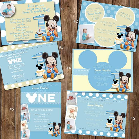 Custom Baby Mickey Mouse 1st Birthday Invitations by itsJenuine, $10.00