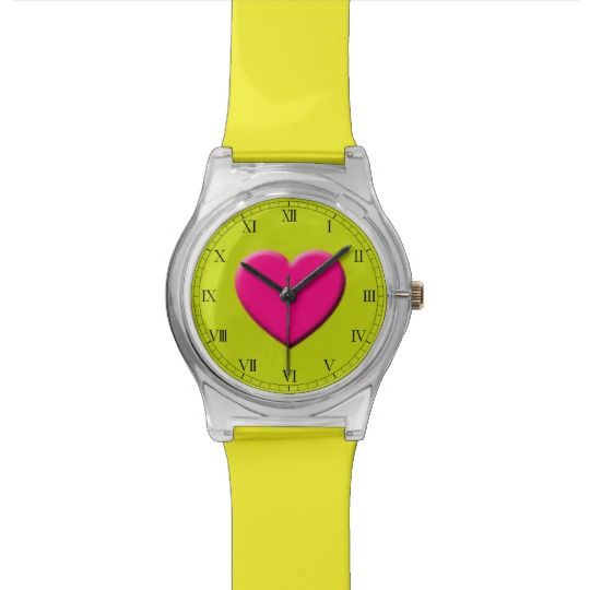 Pink Heart Watch by www.zazzle.com/htgraphicdesigner*