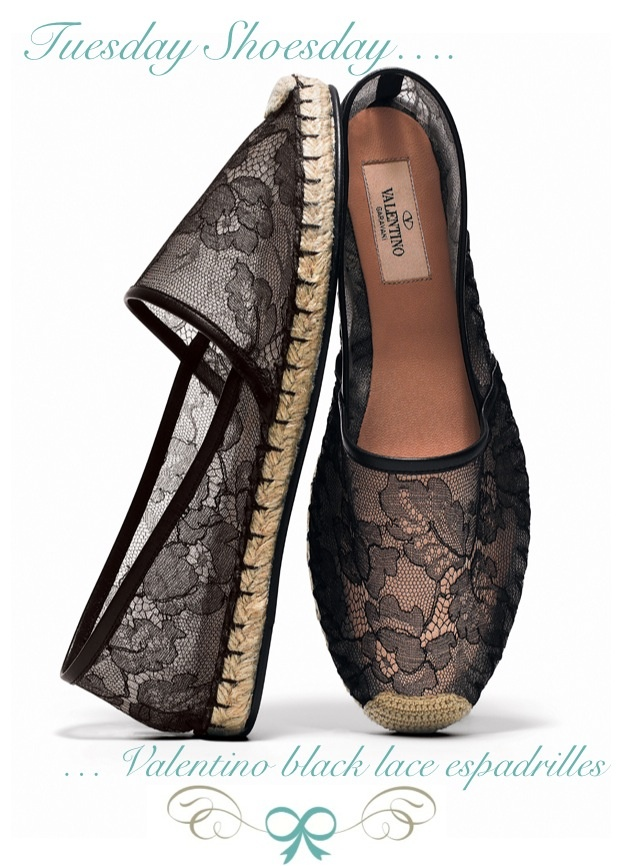 Valentino Black Lace Espadrilles