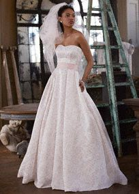 This blossom wedding dress is elegant and feminine with a modern flare!  Style WG3578  from David's Bridal