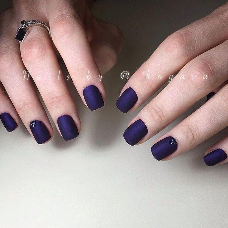 Bright blue nails ideas, Dark blue nails, Evening nails, Everyday nails, Ideas of matte nails, Ideas of plain nails, Matte nails, Matte short nails