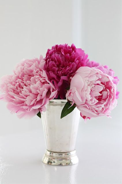 61 best flowers images on pinterest beautiful flowers floral mint julep cups make elegant vases and a nice foil for holding pens and scissors on your desk too peonies mightylinksfo