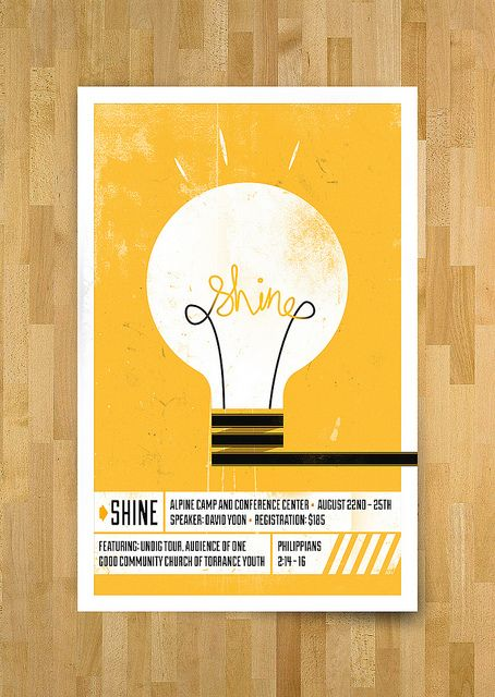 It was really creative to put the word shine in the lightbulb where the two things connect. The poster also has a good use of texture.
