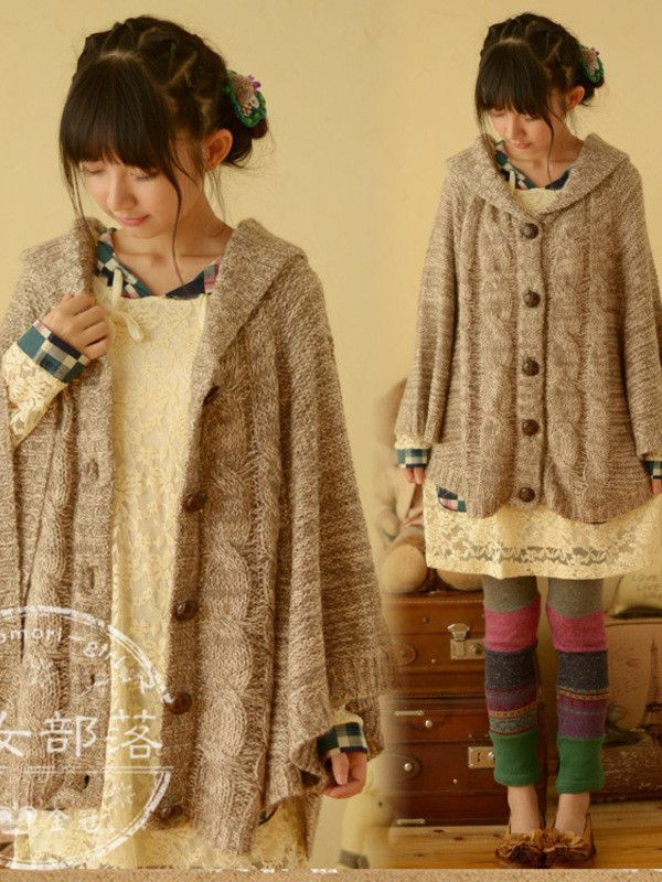 Fall cable cape cardigan #asianicandy #knit #oversized
