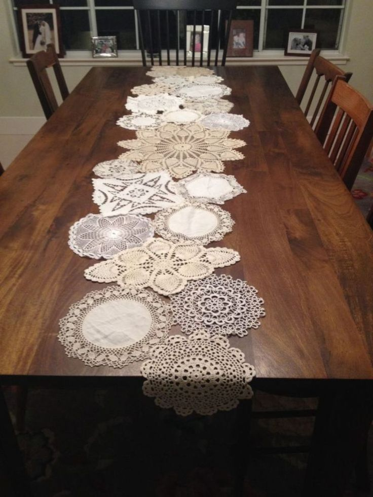 Dining Room With Rectangular Dining Table And Crochet Table Runner
