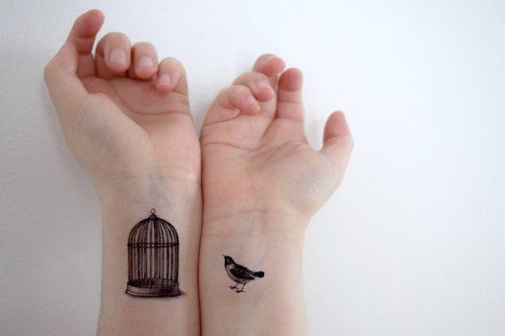 Temporary Tattoo bird cage - Bird, Bird ink, Spring, bird tattoo, bird cage tattoo, black tattoo