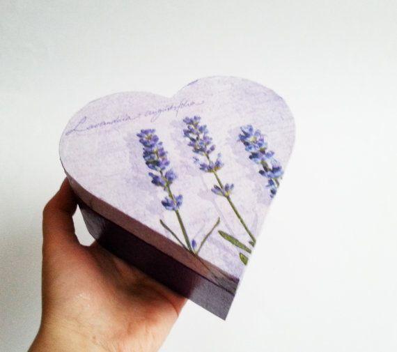 Lavender trinket heart box decoupage valentines keepsake box small wooden box