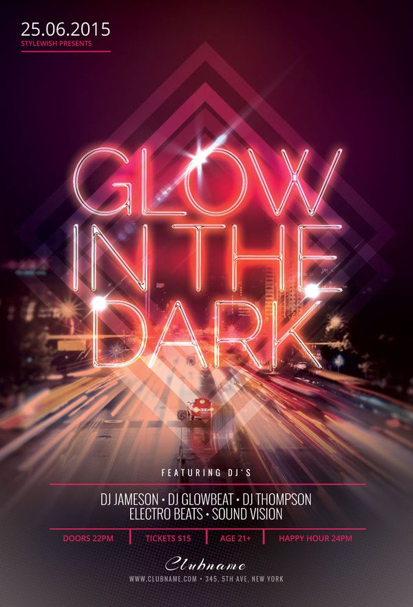 Glow In The Dark Flyer Template by styleWish (Buy PSD file $9)