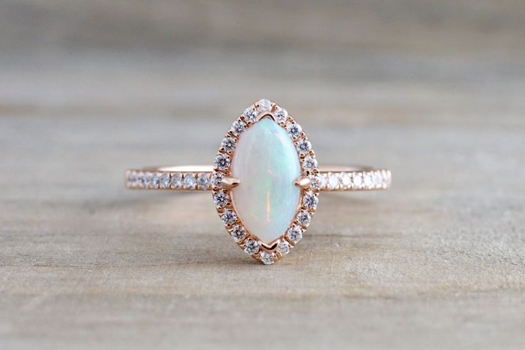 14k Rose Gold Marquis Fire Opal Diamond Halo Engagement Love Anniversary Ring Art Deco Vintage Love Promise
