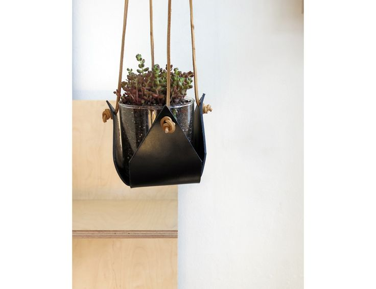 Black Leather Plant Hanger Main Image