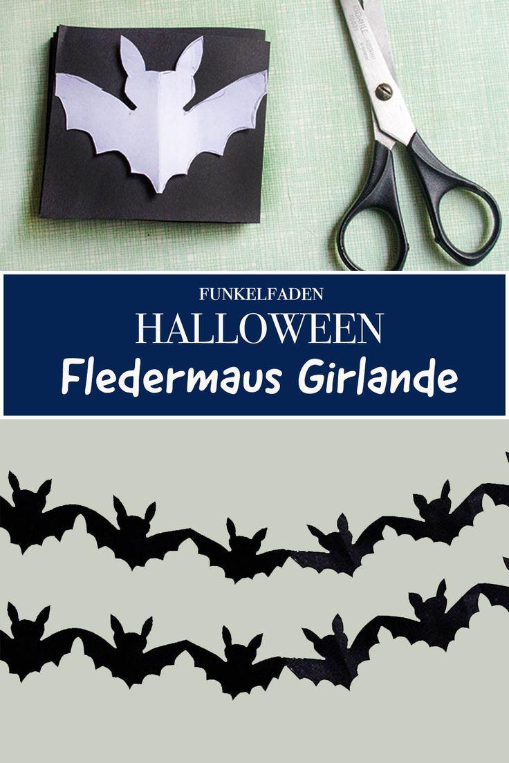 Halloween-Girlande mit Fledermaus basteln – Ideen für Halloweenparty