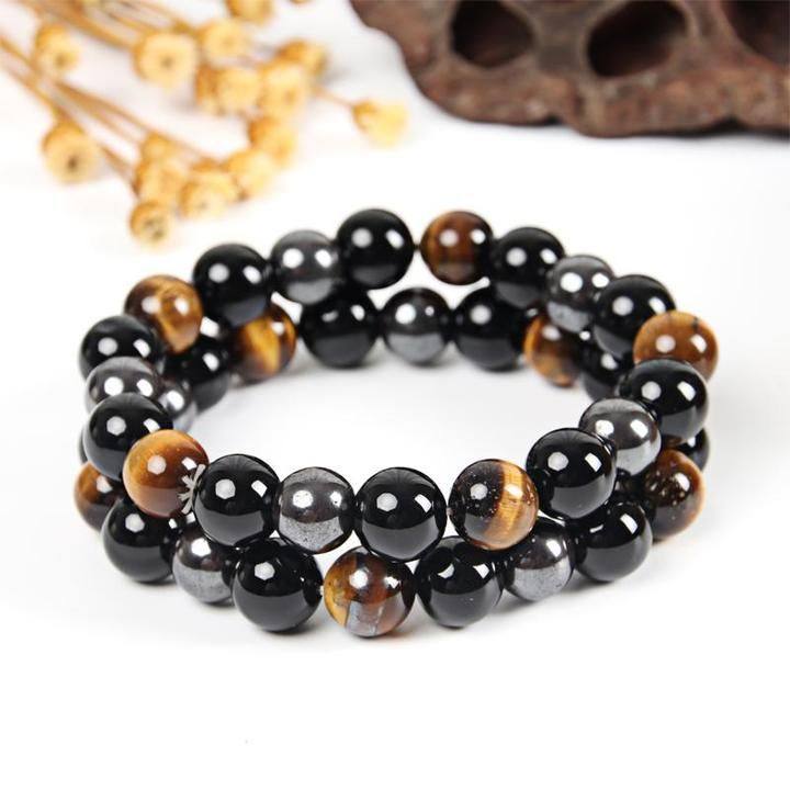 Élastique Yoga Gemstone Bracelet Matte Black Onyx Golden Obsidian méditation 10 mm