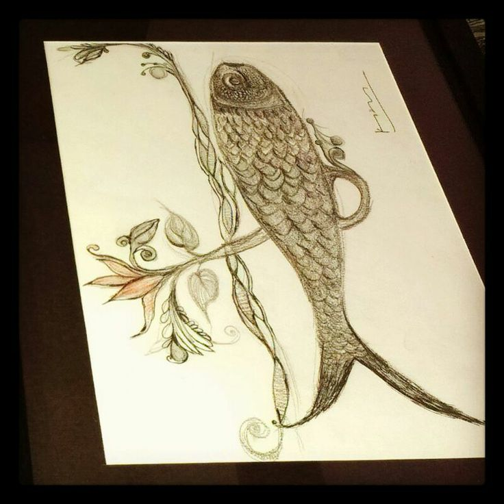 Lotus+Fish+Pencil+Ink +One Painting +One day