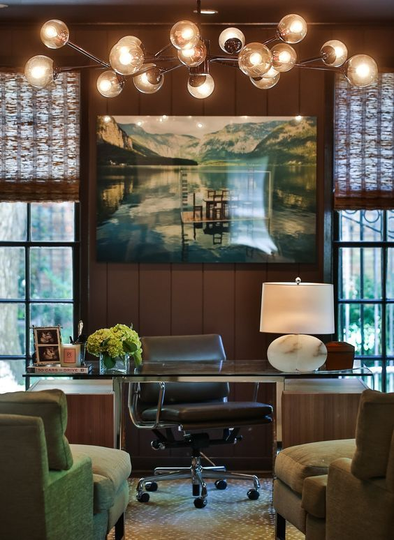 Masculine Vintage Style Home Office With Sputnik Lighting. Reminds Me Of  Don Draper Of Mad Menu0027s Office.