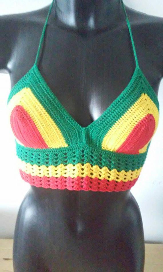 Mira este artículo en mi tienda de Etsy: https://www.etsy.com/es/listing/515465158/halter-top-crochet-style-rastafari-tied