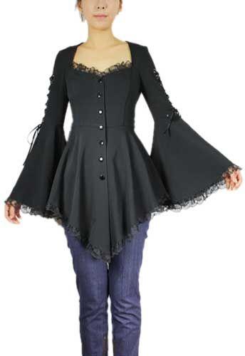 Tunique gothique noire bouttonée avec dentelle, manches évasées et laçées