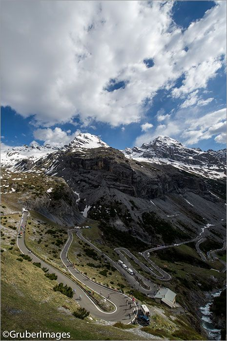 The Giro d'Italia shares the road with racers and fans alike on the Stelvio.