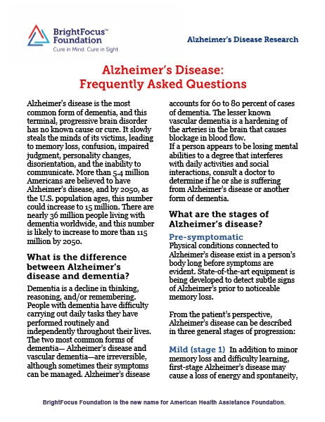 Alzheimer's Disease: Frequently Asked Questions