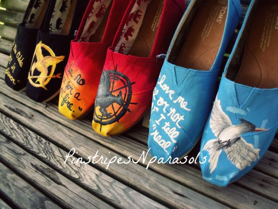 HUNGER GAMES Inspired Trio - Hunger Games, Catching Fire, Mockingjay shoes. OH MY GOSH, SOMEONE PLEASE GET ME THESE FOR MY BIRTHDAY.