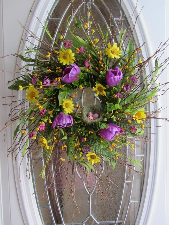 504 best images about a door able wreath ideas on Spring flower arrangements for front door
