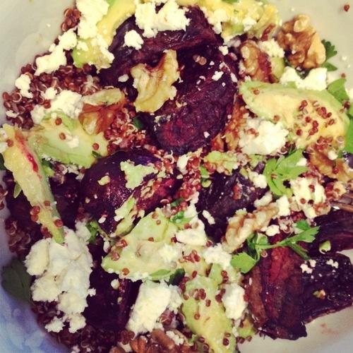 ... quinoa, roasted beets, walnuts, avocado, feta, lemon zest & parsley