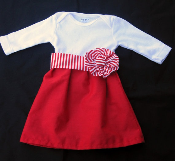 Kins canada day outfit! Red and White Onesie Dress with Removable Belt by allisonmeredith, $20.00