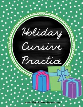 (freebie) winter holiday themed handwriting pages help students practice cursive letter connections using holiday words like gingerbread, Christmas tree, menorah, and peace.