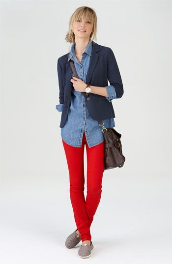 and my quest for red jeans ends here...i would finish this outfit with some fun jewelry and those leopard tory's (le sigh)