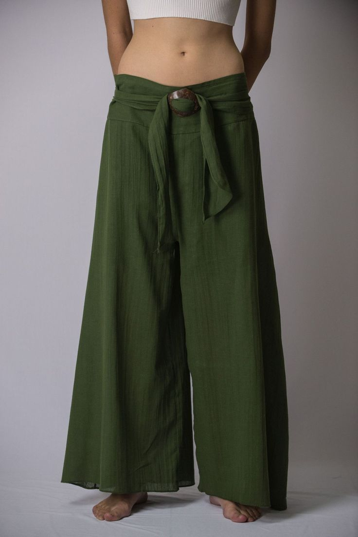 Women's Thai Harem Palazzo Pants in Solid Green – Harem Pants