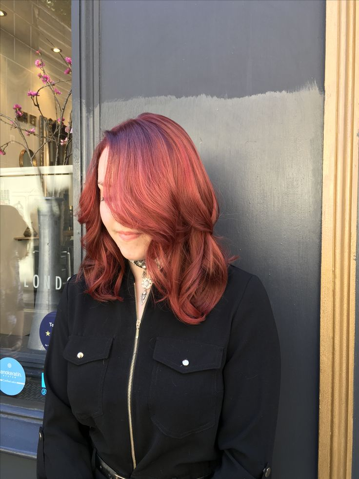 Red hair using L'Oréal and GHD Curve to style and create waves
