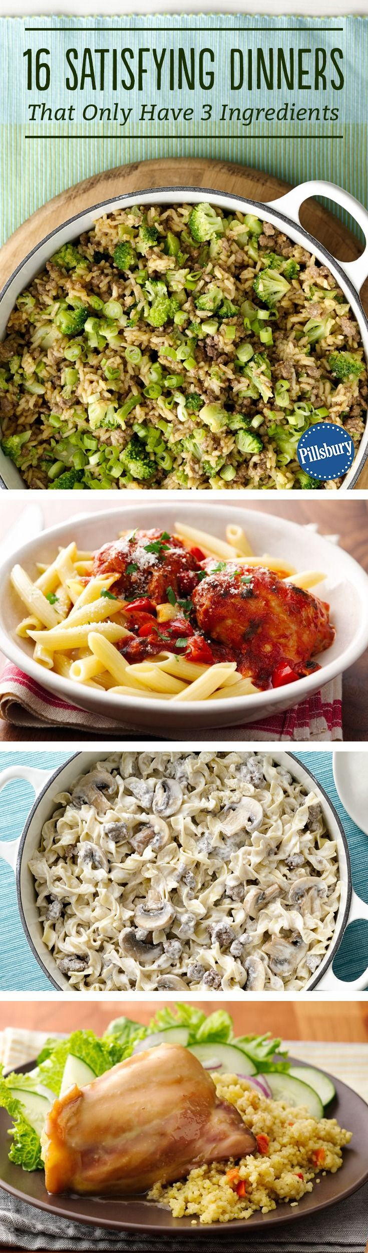 16 Satisfying Dinners That Only Have 3 Ingredients - Delicious and filling dinners don't always have to be complicated. These guaranteed-to-please recipes are as easy as 1-2-3!