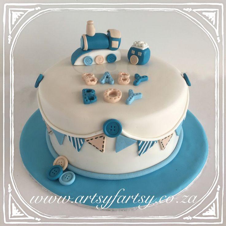 Train Baby Shower Cake #trainbabyshowercake